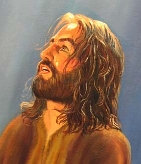 Close up of portrait of Jesus in Gethsemane oil painting by Patsy Arrington Dorsett