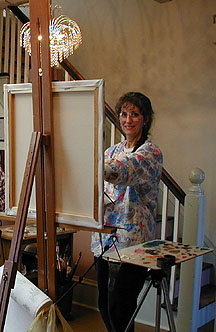 Patsy Arrington Dorsett Portait Artist Painting Live in her Studio